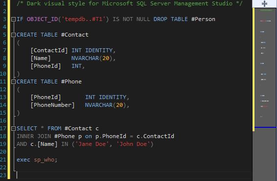 DarkSQL Visual Style