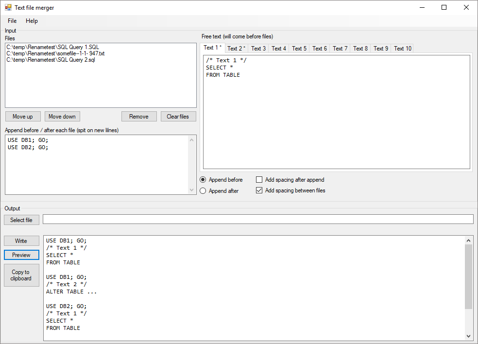 Screenshot of Text file merger application